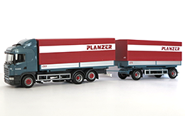 Hängerzug Scania, Massstab 1:87, Plane rot