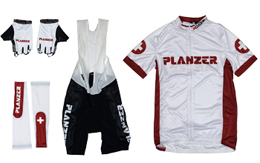 Cycling jersey / bib shorts, arm warmers, gloves